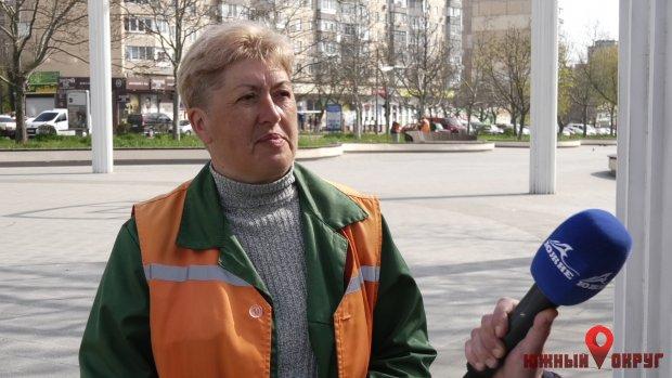"""Наталья Ратушная, озеленитель ІІІ разряда КП""""Экосервис""""."""